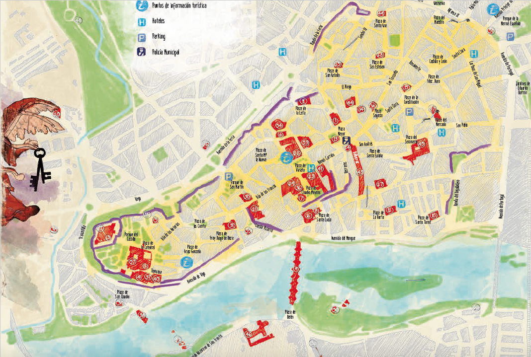 mapa de zamora con lugares de interes