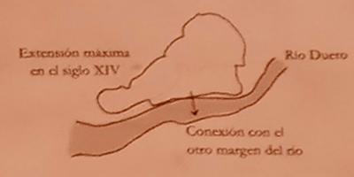 Mapa Zamora Puente de piedra siglo XIV